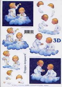 3D sheet Engel auf Wolke - Format A4