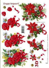 3D Bogen Weihnachtsblumen - Format A4