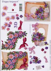 3D Bogen Leiste+Karton+Blumen - Format A4