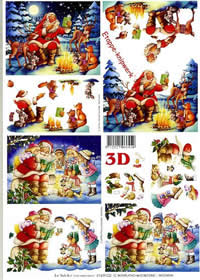 3D sheet Weihnachtsmann im Wald - Format A4