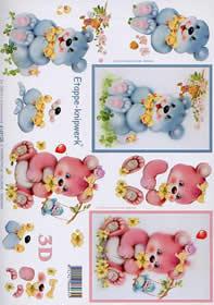 3D Bogen Pastellbärchen - Pastellbär - Format A4