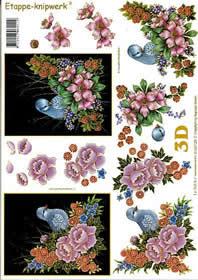 Hojas de 3D V?gel auf Blumen - Formato A4