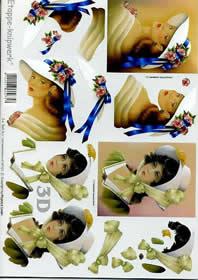 Carta per 3D Frauen+Hut+Schleife - Formato A4