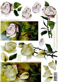 3D Bogen Rosen mit Stiel - Format A4