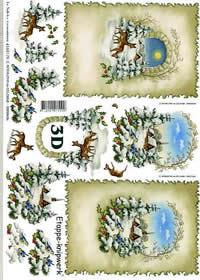 3D Bogen Weihnachtshirsche - Format A4