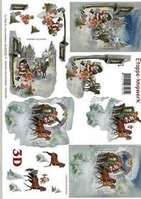 3D Bogen Weihnachtskutsche - Format A4