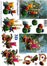 3D Bogen Weihnachtskerzen - Format A4