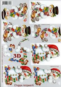 Hojas de 3D Schneemann - Formato A4