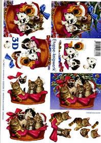 Feuille 3D Weihnachtshund + Katze - Format A4