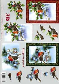 Feuille 3D Weihnachts - Rotkehlchen - Format A4