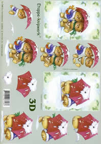 Feuille 3D Weihnachtsbären - Format A4