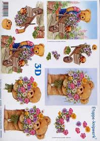 Hojas de 3D Bär im Garten - Formato A4