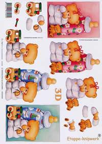 3D sheet Baby Bär+Flasche - Format A4