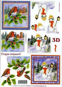 3D sheet Vögel + Schneemann - Format A4