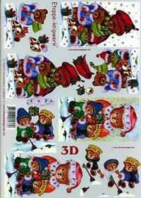 3D sheet Weihnachtsbären - Format A4