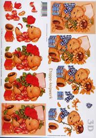 3D sheet Bär + Sonnenblume - Format A4