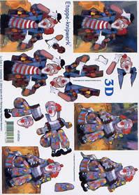 Feuille 3D Clown - Format A4