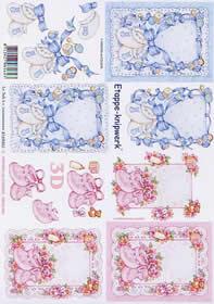3D Bogen Baby Schuhe auf Decke - Format A4