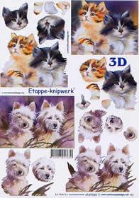 3D sheet Katze und Hunde - Format A4