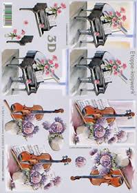 3D sheet Klavier + Geige - Format A4