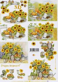 3D sheet Sonnenblumen - Format A4