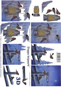 3D Bogen Vögel im Schnee - Format A4
