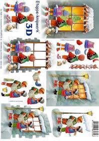 3D Bogen Kinder am Fenster - Format A4