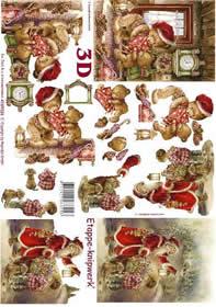 3D Bogen Weihnachtsbär + Mann - Format A4
