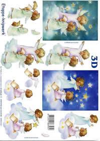 Feuille 3D Engel auf Wolke - Format A4