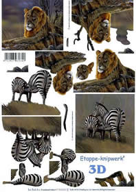 Hojas de 3D Löwe + Zebra - Formato A4