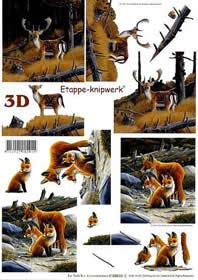 3D sheet Hirsch + Füchse - Format A4