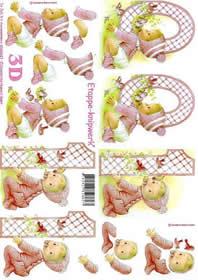 Hojas de 3D Rosa 0 - 1 Jahre - Formato A4