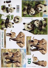 3D sheet Panda + Elefant - Format A4