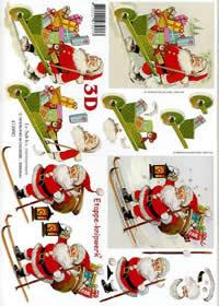 Hojas de 3D Weihnachtsmann auf Ski - Formato A4
