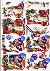 Hojas de 3D Weihnachtskatzen - Formato A4