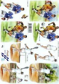 Hojas de 3D Fußball + Tennis - Formato A4
