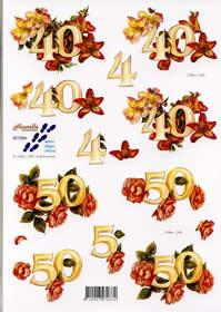 3D sheet Jubiläum 40 + 50 - Format A4