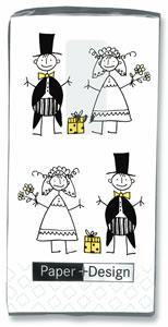 10 bedruckte Taschentücher Just married,  Sonstiges,  Ereignisse,  Everyday,  bedruckte papiertaschentücher,  Hochzeit,  Strichmännchen,  Karikatur
