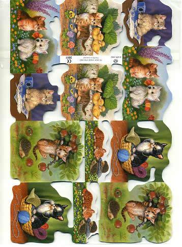 1 Bogen Poesiebilder - 15 x 23 cm Kätzchen,  Sonstiges,  Poesiebilder,  Tiere,  Kätzchen im Korb,  auf der Wiese,  Entenkücken,  Igel,  Hund