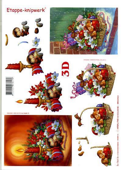 3D Bogen Weihnachtskorb - Format A4,  Weihnachten - Kerzen,  Le Suh,  3D Bogen,  Weihnachtskorb,  Geschenk