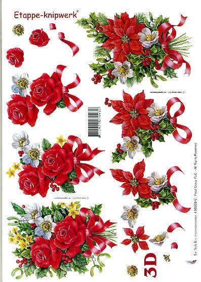 3D Bogen Weihnachtsblumen - Format A4,  Blumen - Rosen,  Le Suh,  3D Bogen,  Weihnachtsblumen,  Ilex