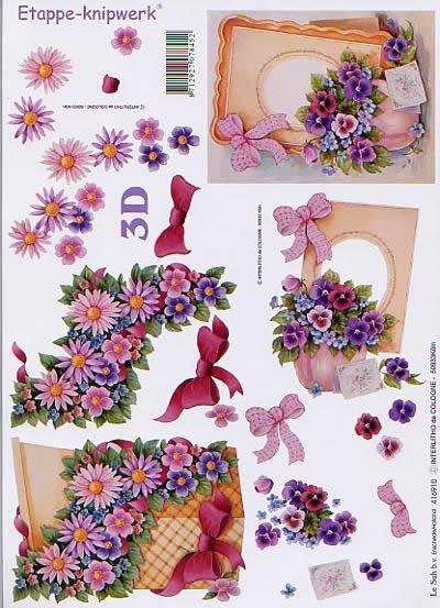 3D Bogen Leiste+Karton+Blumen - Format A4,  Blumen - Stiefmütterchen,  Le Suh,  3D Bogen,  Leiste+Karton+Blumen