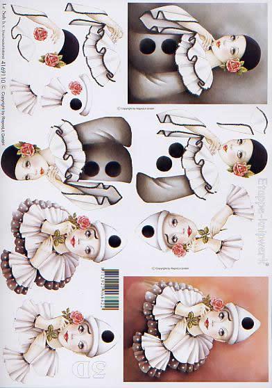 3D Bogen Pirrot - Format A4,  Le Suh,  3D Bogen,  Pierot,  Clown
