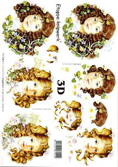 3D Bogen Mädchenköpfe - Format A4,  Le Suh,  3D Bogen,  Mädchenköpfe