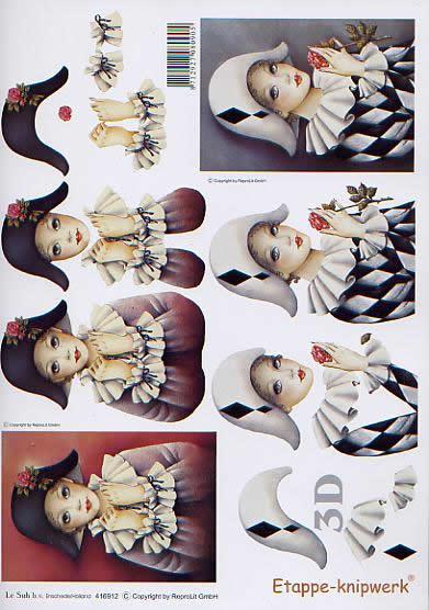 3D Bogen Pierrot - Format A4,  Le Suh,  3D Bogen,  Pierrot,  Clown