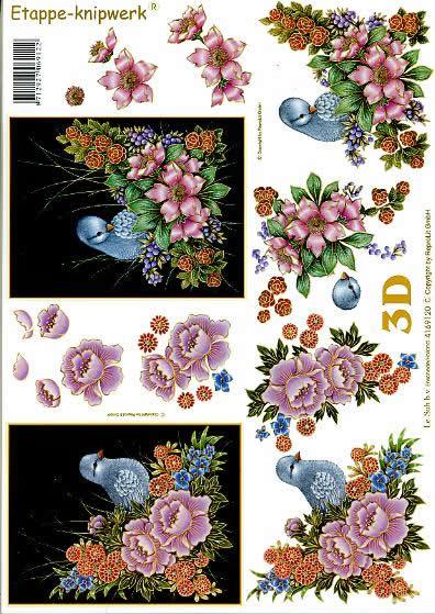 3D Bogen Vögel auf Blumen - Format A4,  Tiere - Vögel,  Le Suh,  3D Bogen,  Vögel auf Blumen