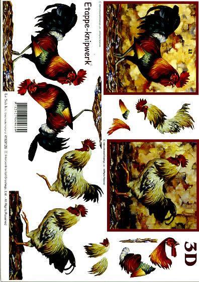 3D Bogen Hahn - Format A4,  Tiere - Huhn / Hahn,  Le Suh,  3D Bogen,  Hahn