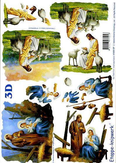 3D Bogen Jesus Maria + Josef - Format A4,  Menschen - Personen,  Le Suh,  3D Bogen,  Jesus Maria + Josef,  Tiere,  Schaf