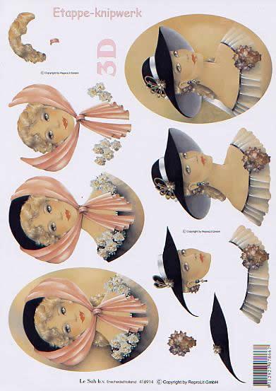 3D Bogen Dame mit Hut - Format A4,  Le Suh,  3D Bogen,  Dame mit Hut,  Romantik