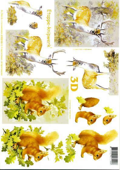 3D Bogen Hirsch + Eichhörnchen - Format A4,  Tiere - Reh / Hirsch,  Le Suh,  3D Bogen,  Hirsch + Eichhörnchen